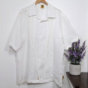 Steve Harvey Men's White Linen & Silk Shirt 2XL